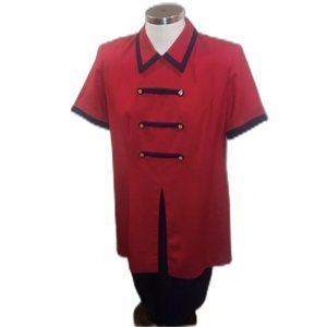 VINTAGE RED NAVY SAILOR MILITARY DRESS 80s 12P